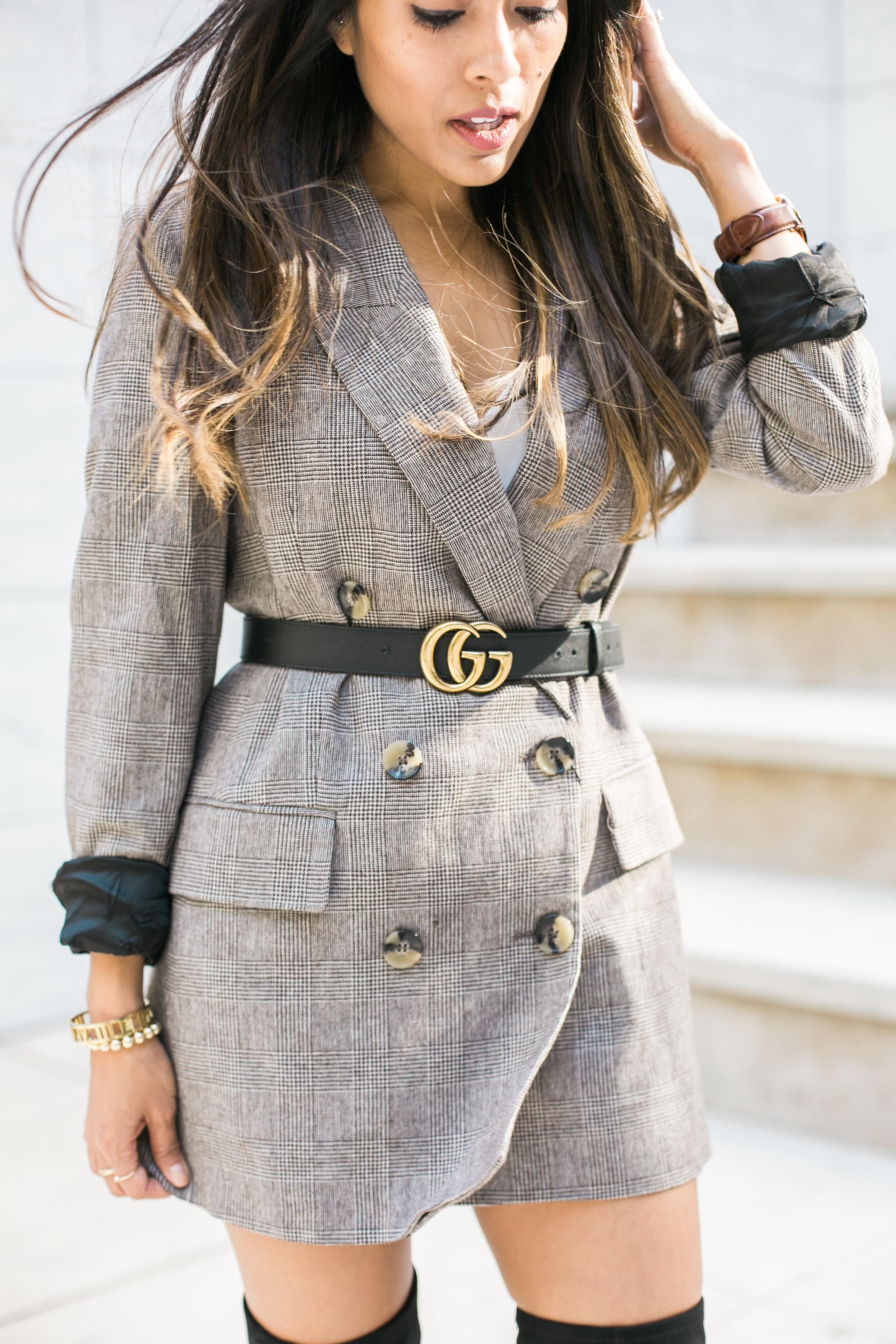 2f6d893170f plaid-blazer-gucci-belt - Dine   Fash